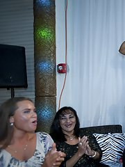 Lusty babes having fun with a big black hunk at the CFNM party