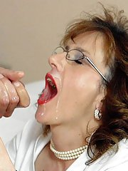 Horny mature lady gives a blowjob and gets a cumshot in her mouth