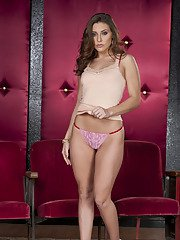 Stupendous babe on high heels Gracie Glam stripping off her clothes