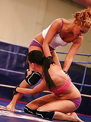 Sporty babes Becky Stevens  Barbie Black are into rough catfight