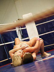 Seductive sporty babes are into catfight ending with lesbian action