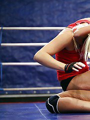 Seductive sporty lesbians pleasuring each other after catfight