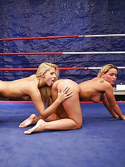 Wild catfight of pretty sporty babes ends up with pussy licking