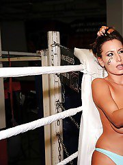 Tempting babes in bikini are into rough catfight in the ring