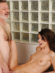 Gracefull teen Betty Stylle gives a blowjob and gets nailed by an oldman