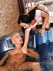 Brunette teen cutie gets banged by an older guy in the bath