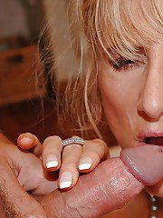 Lusty mature babe sucking a big cock and getting fucked in her cunt