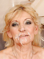 Blonde granny gets a facial cumshot after hardcore fucking