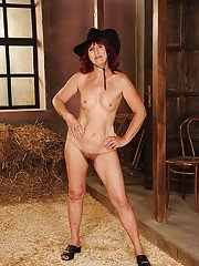 Fatty mature lady with tiny tits stripping off her clothes in the barn