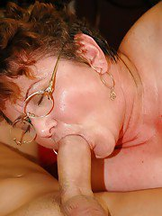 Short haired mature plumper in glasses gets her cunt nailed by toy and cock
