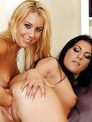 Honey Demon gets her pussy nailed with a toy and her friends fist