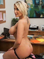 Horny MILF Alanah Rae squeezes her big tits and feels pussy in office