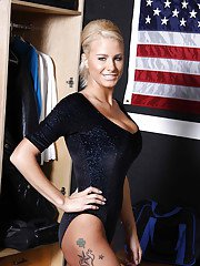 Big busted blonde Jessica Nyx stripping off her sport outfit and lingerie