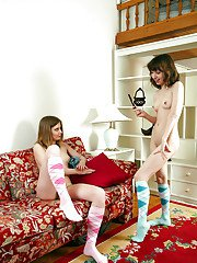 Fuckable teen lesbians stripping and pleasuring each others cunts