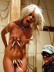 Blonde babe Chloe Bright gets bound tight and BDSM tortured with a cock