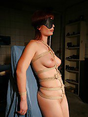 Slutty babe Zyna Baby gets blindfolded and tied up to get BDSM fucked