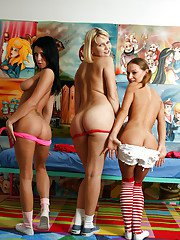 Lesbian teen babes enjoy stripping and toying each others cunts