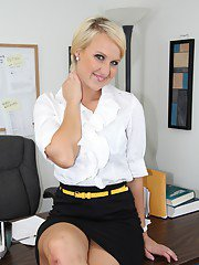 Stunning blonde office babe Nadia Lopez stripping off her clothes