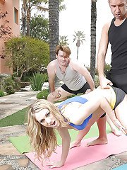 Sporty blonde babe with big tits Amber Ashlee gets her cunt drilled outdoor