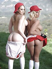 Busty babes Lylith Lavey  Kagney Linn Karter stripping each other outdoor