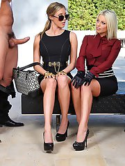 Seductive blonde Samantha Saint has CFNM foursome fun outdoor