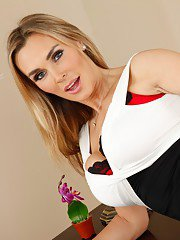 Hot teacher with big tits Tanya Tate stripping and fingering her pussy