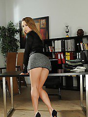 Adorable european babe with big tits Kitty Cat stripping in the office