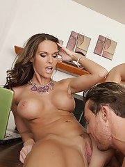 Hot MILF Jennifer Dark gives a blowjob and gets shagged in the office