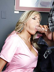 Sweet blonde in nurse uniform Darcy Tyler gets a facial after hardcore fucking