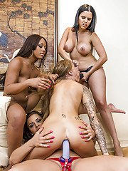 Lecherous vixens make some hard lesbian foursome using strapon dildos