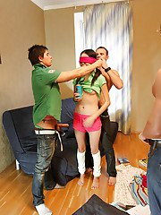 Lustful asian coed is into wild groupsex with her friends at the party