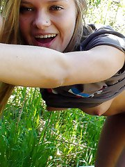 Lustful amateur blonde babe gives a sensual blowjob outdoor