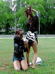 Fetish babes Gina Killmer  Tatiana Milovani having fun in public place