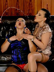 Hot MILF Bibi Fox is into kinky fully clothed groupsex with her friends
