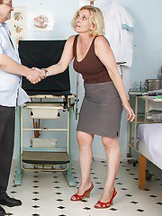 Big busted mature blonde gets her hairy muff examed by gyno