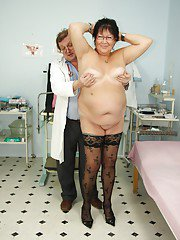 Fatty granny in stockings gets her shaved cunt examed and fingered by gyno