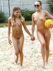 Amateur teen Avril Sun stripping and having fun with her friend outdoor