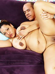 Fatty indian MILF with massive jugs gives a blowjob and gets banged hardcore
