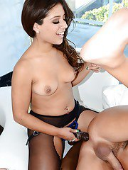 Lusty latina babe Jynx Maze face sitting a guy and fucking him by strapon