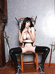 Lusty babe in latex stockings Eloa Lombard exposing her gorgeous body