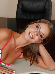 Naughty coed Presley Hart taking off her clothes and spreading her legs