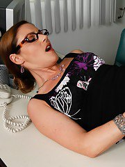 Seductive MILF in stockings Samantha Ryan gets banged in the office