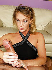 Lascivious mature lady in glasses is into sensual CFNM action