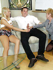 Lustful mature lady teaching her teen friend how to give a blowjob