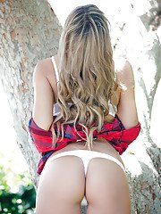 Stunning babe Mylie Bryce stripping off her lingerie outdoor