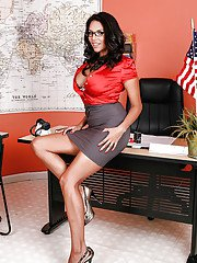 Voluptuous latina babe Missy Martinez taking off her suit and lingerie