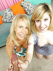 Busty mature blonde sharing a big cock with her slutty teen friend