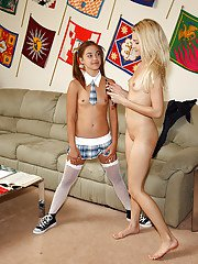 Slim amateur teenage lesbians having some fun with their toys