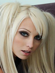 Big busted blonde babe Rikki Six stripping and spreading her slender legs