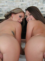 Fuckable vixens stripping and making some soft lesbian action